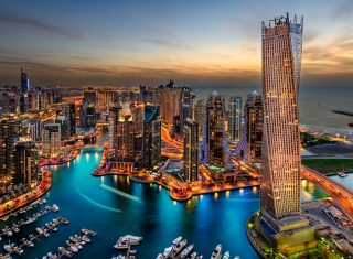 Dubai at night, United Arab Emirates