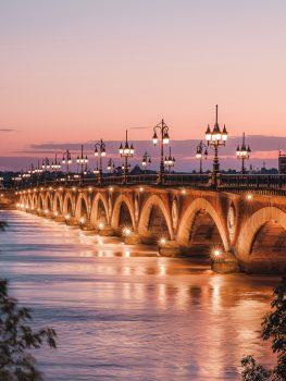Bordeaux, France - Bridge at Sunset