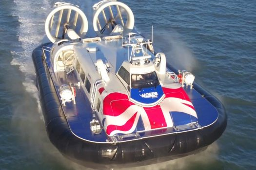Hover Travel, Portsmouth & Isle of Wight - Hovercraft - Postcard image from drone footage (NCN)