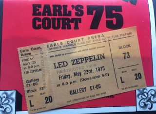 Led Eap at Earl's Court prog n ticket (NCN)