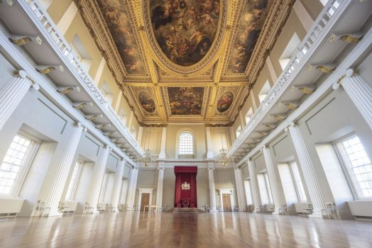 Banqueting House, Whitehall, London - A view of the great hall and its ceiling decorated with paintings by Sir Peter Paul Rubens (6303) © Historic Royal Palaces, Peter Li