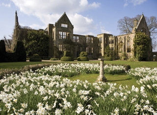 The ruins from the Main Lawn in April at Nymans, West Sussex ©National Trust images/David Levenson