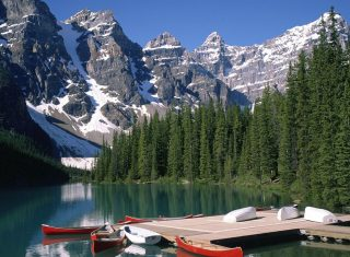 Banff, lake and mountains view, Canada