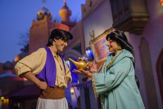 Aladdin and Jasmine at Adventureland Bazaar at Disneyland® Park