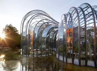 Bombay Sapphire Gin Distillery, Whitchurch, Hampshire - Glasshouses at sunset (NCN)