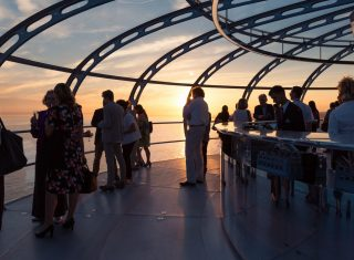 British Airways i360, Brighton - inside pod sunset