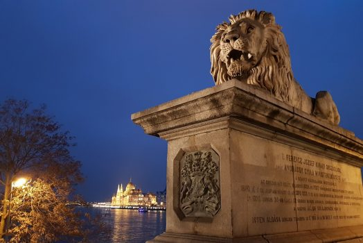 Hungary, Budapest, Chain Bridge, Parliament, Lion. Group Travel NCN