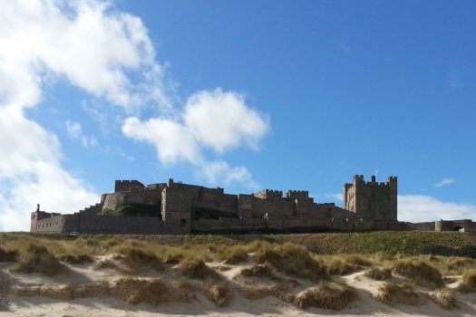 Hadrian's Wall Bamburgh Castle from the beach, Northumberland
