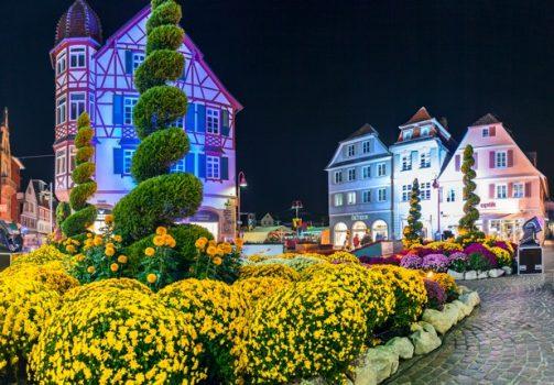 Chrysanthemum Festival in Lahr at night time, Germany