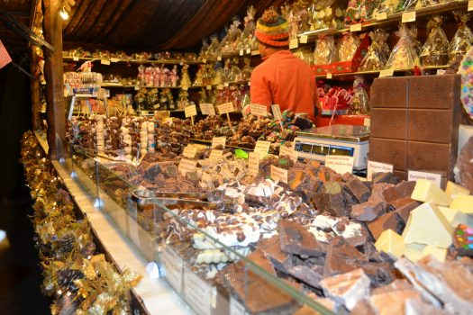 Chocolate stalls at Manchester Christmas Markets