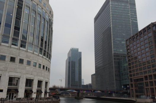 London Docklands view of Canary Wharf
