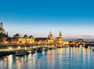 Germany, Saxony, Dresden, skyline, old town, dusk, Group Travel ©Anja Upmeier
