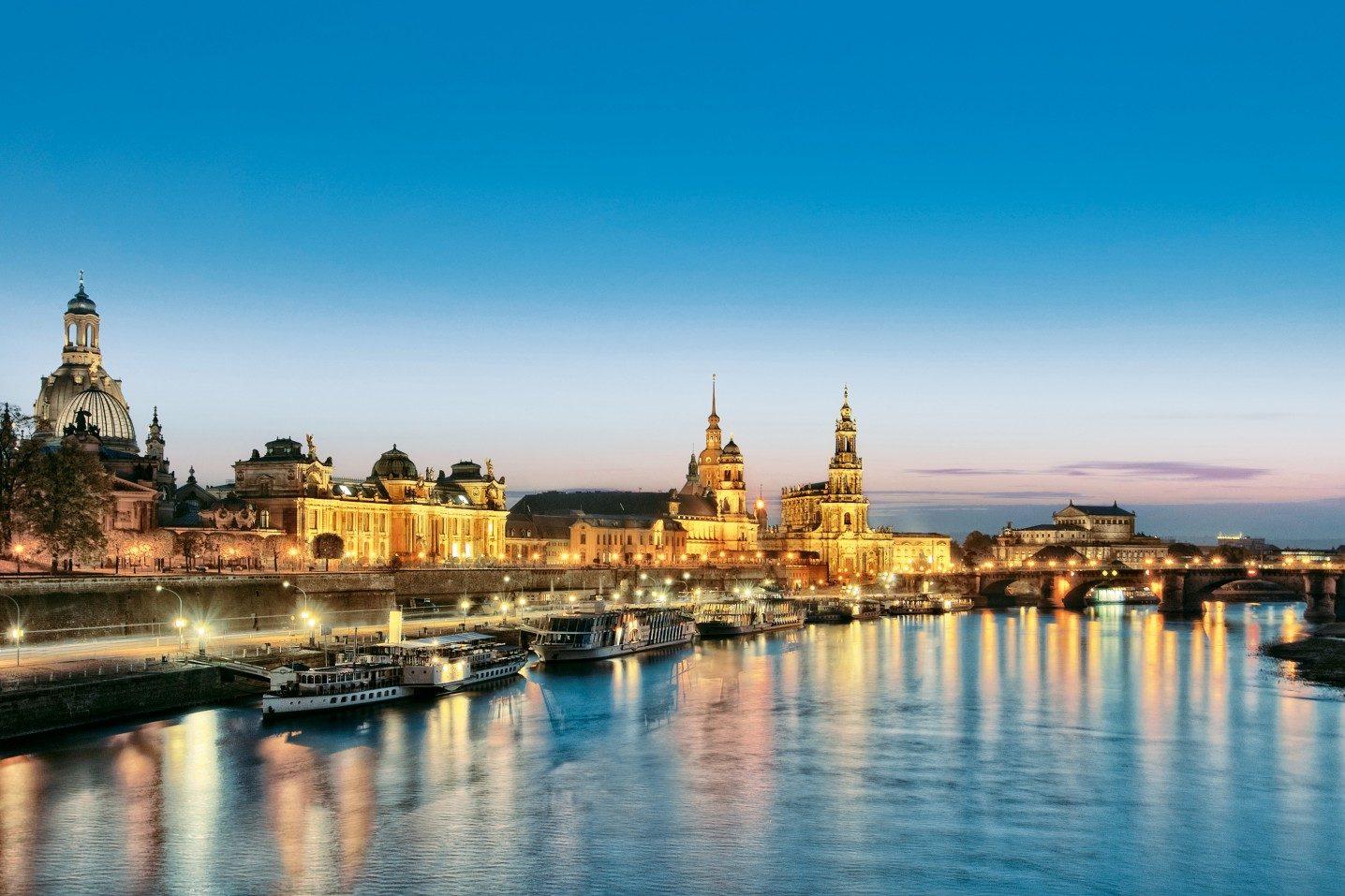 Schön Skyline Dresden Sammlung Von Germany, Saxony, Dresden, Skyline, Old Town, Dusk,