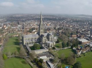 Drone image exterior Salisbury Cathedral