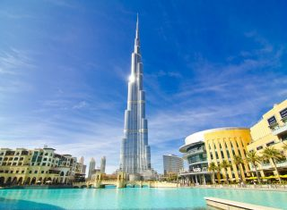 Impressive view of the Burj Khalifa, Dubai, United Arab Emirates