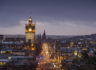 Edinburgh, Scotland - The Balmoral Hotel clock tower and Princes Street seen from Calton Hill © VisitScotland, Kenny Lam
