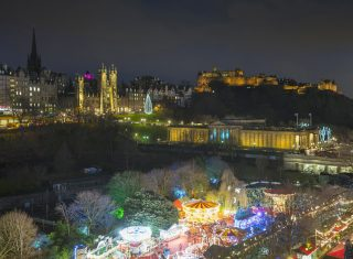 Edinburgh, Scotland - View of Edinburgh Castle and Christmas Market from the Scott Monument (03) © VisitScotland, Kenny Lam EXPIRES 3.12.2021