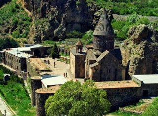 Geghard monastery, group tour to Armenia NCN)