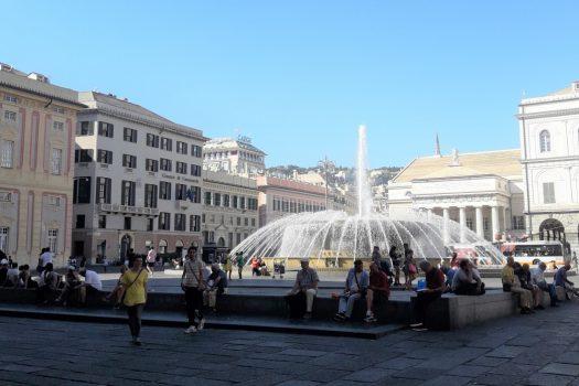 Piazza de Ferrari, Genoa, Liguria, Italy, group travel