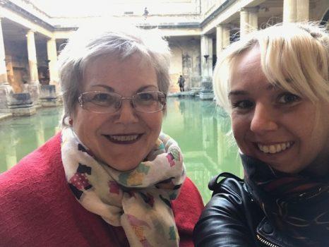 Gina and Katharine at Roman Baths, Bath, Somerset (KWY-NCN)