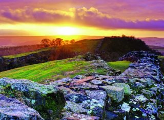 Sunset over Hadrian's Wall ©English Heritage