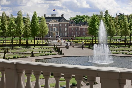 Het Loo Palace, Apeldoorn, Netherlands. Rear view of the Palace and the Kings Fountain