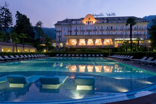 Hotel Simplon, Lake Maggiore, Italy - Outdoor Swimming Pool at night (NCN)