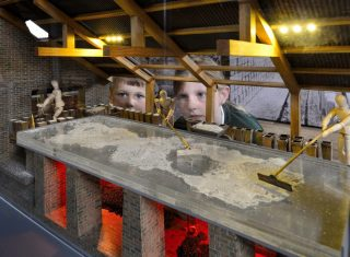 Lion Salt Works, Marston, near Northwich, Cheshire (NCN) - Children looking at model of salt pan