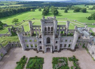 The Borders, Lowther Castle, Penrith, Lake District, Cumbria - Aerial view Lowther Castle