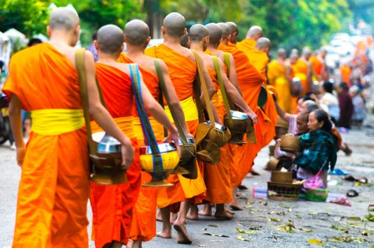 Southeast Asia, Laos, Luang Prabang, monks, buddhist, alms © Easia Travel