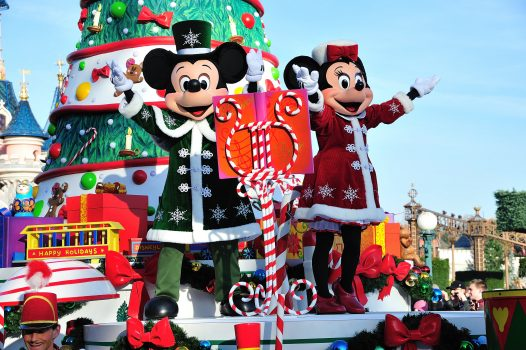 Mickey and Minnie in the Christmas Parade