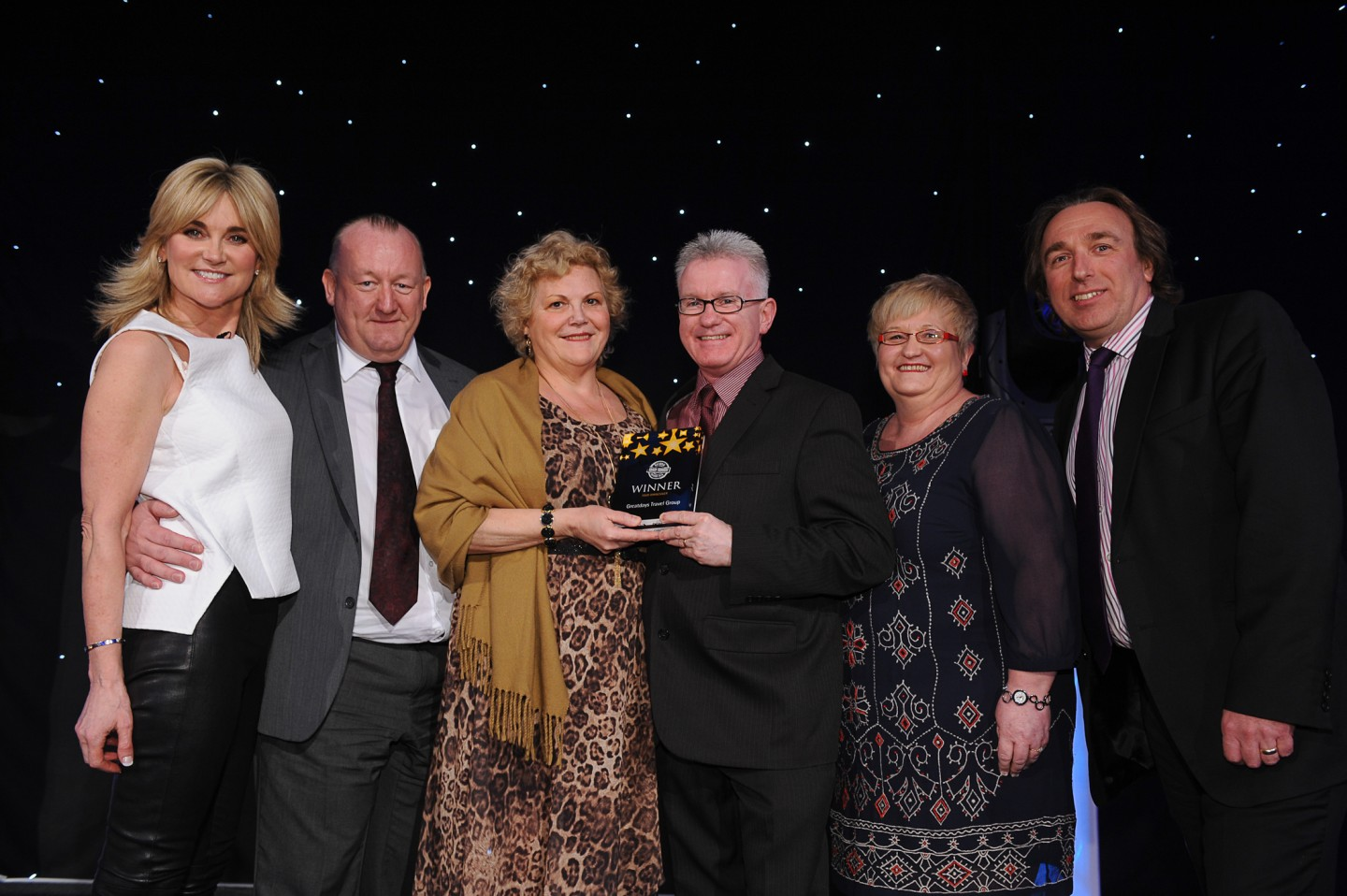 L-R: Anthea Turner, Andy Beard, Gina Halden, Martin Slater, Theresa Foley – P&O Ferries, Paul Beaumont, National Coach Tourism Awards