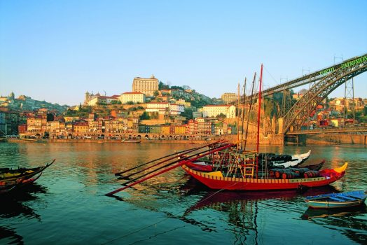 Porto Douro Valley Riverside with traditional boats in Porto, Northern Portugal