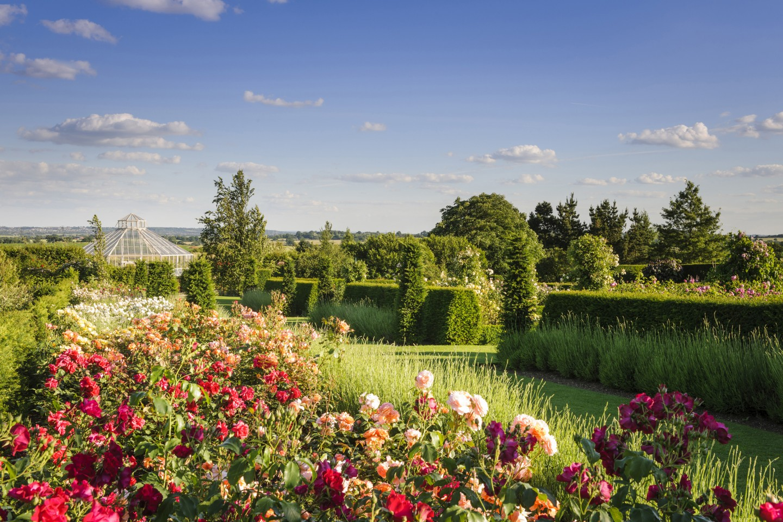 RHS Garden Hyde Hall, Chelmsford, Essex - The Rose Garden and Glasshouse in the Global Growth Vegetable Garden © RHS, Jason Ingram