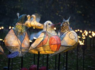 Royal Botanic Gardens, Kew, Richmond, London - Three French Hens in Kew's Fire Garden © Jeff Eden, RBG Kew