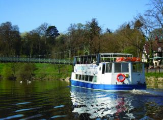 Welsh Marches The Sabrina boat cruise along the river Severn in Shrewsbury, Shropshire