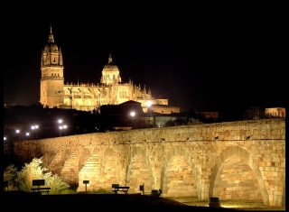 Salamanca by night, Castille, Spain Castilian