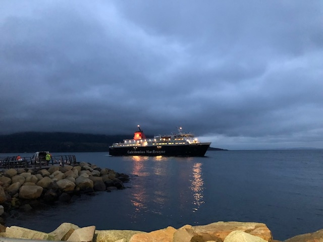Scottish Borders, Scotland - Caledonian MacBryane ferry arriving on Isle of Arran