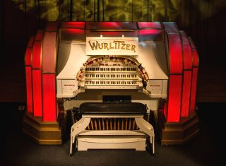 The Musical Museum, Kew, London - Wurlitzer red close up (NCN)