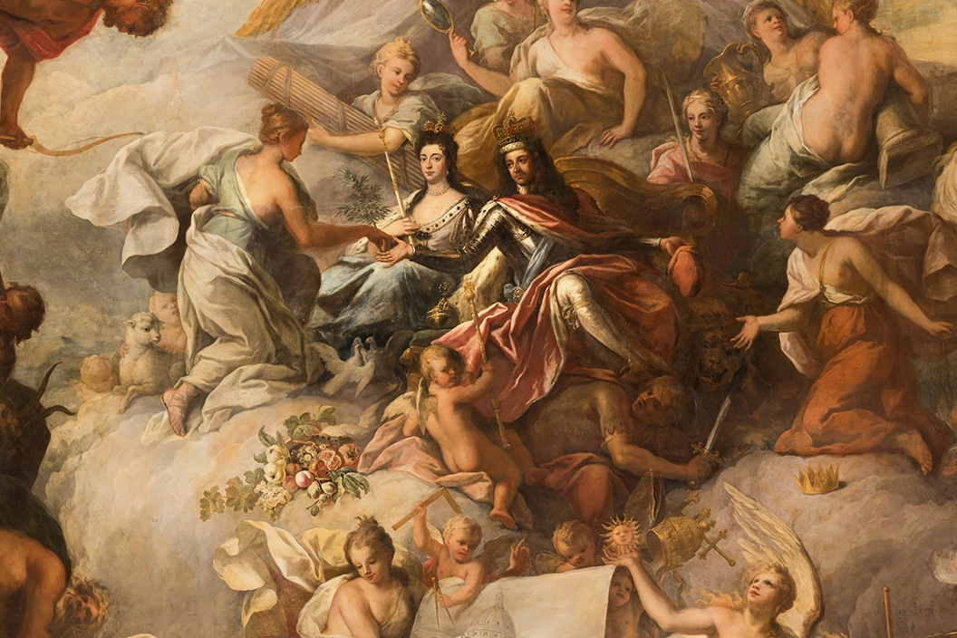 The Painted Hall, Old Royal Naval College, Greenwich, London - Lower Hall Ceiling-Cropped William And Mary © Samuel Whittaker