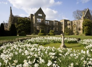 The ruins from the Main Lawn in April at Nymans, West Sussex