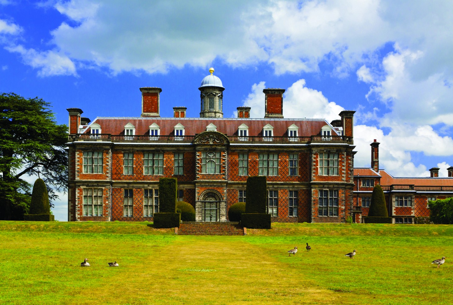 The south front of Sudbury Hall, Derbyshire, with geese resting on the lawn ©National Trust ImagesRobert Morris.jpg