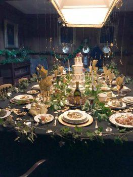Tissington Hall, Tissington, Derbyshire - Table set for Dinner