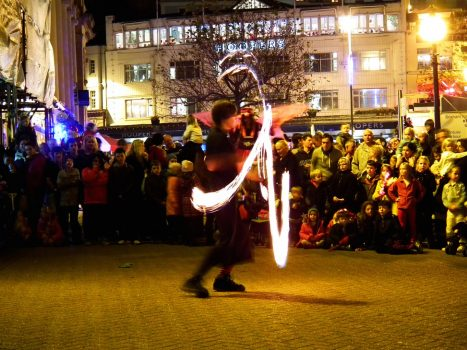 Torquay at Christmas fire dancer, Devon ©English Riviera Tourism Company