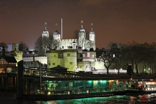 Tower of London by night London showboat River Thames Christmas