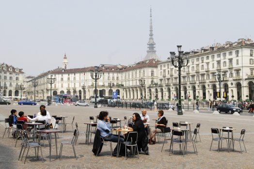 Street cafe in Piazza Vittorio Veneto in Turin