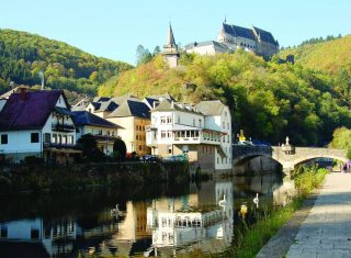 Luxembourg Group Trip, Vianden castle from the lake in Vianden, in Luxembourg
