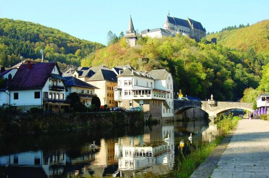 A view of Vianden castle from the lake in Vianden, in Luxembourg