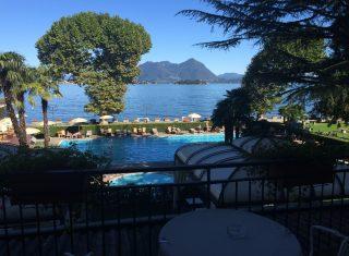 View over pool and Lake Maggiore, Grand Hotel Dino, Baveno, Lake Maggiore