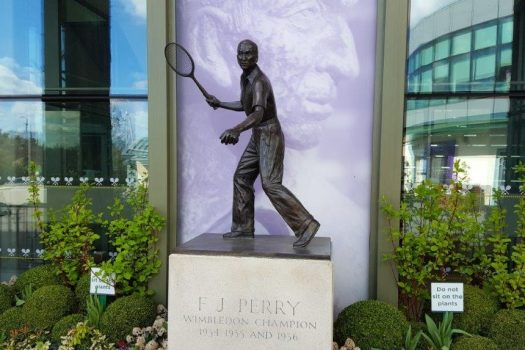 Wimbledon Lawn Tennis Museum, London - Statue of F J Perry